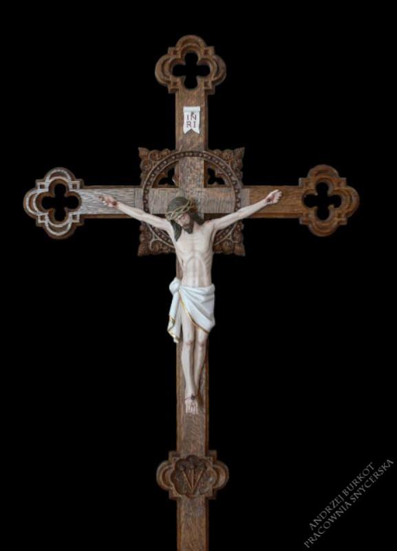 Krzyż procesyjny drewniany szczegóły