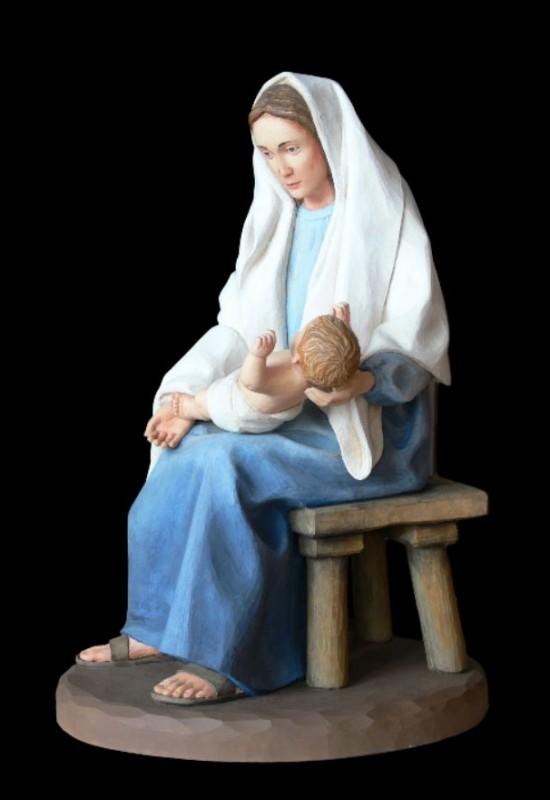 Rzeźba szopkowa drewniana - Maryja z dzieciątkiem