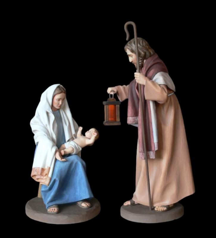 Szopka Bożonarodzeniowa, święta rodzina - rzeźby w drewnie
