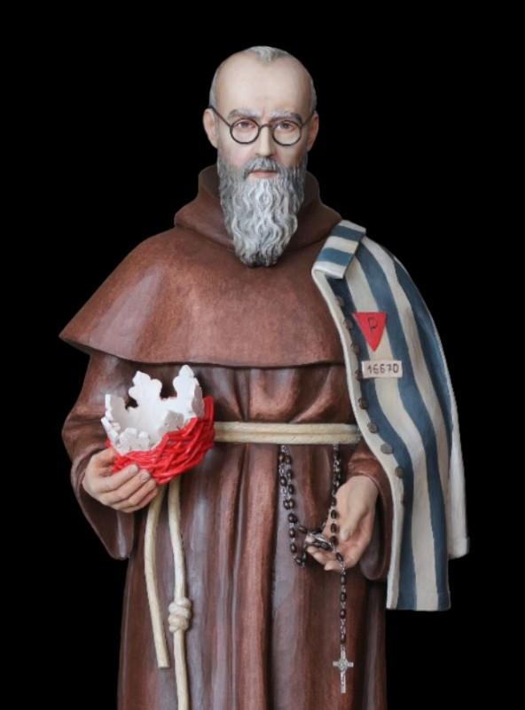 Święty Maksymilian Kolbe, figura drewniana