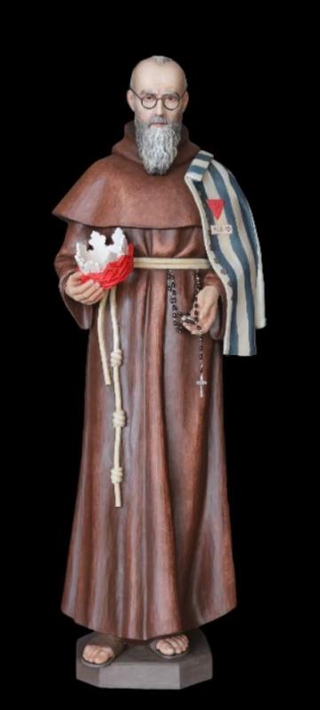 Święty Maksymilian Kolbe rzeźba w drewnie