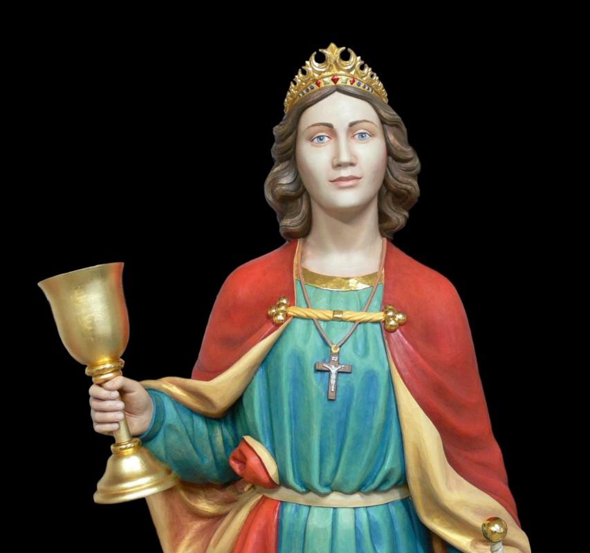 Barbara - figura drewniana polichromowana z elementami złoconymi 24-karatowym złotem płatkowym