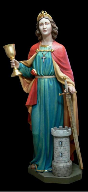 Święta Barbara patronka górników - figura z drewna