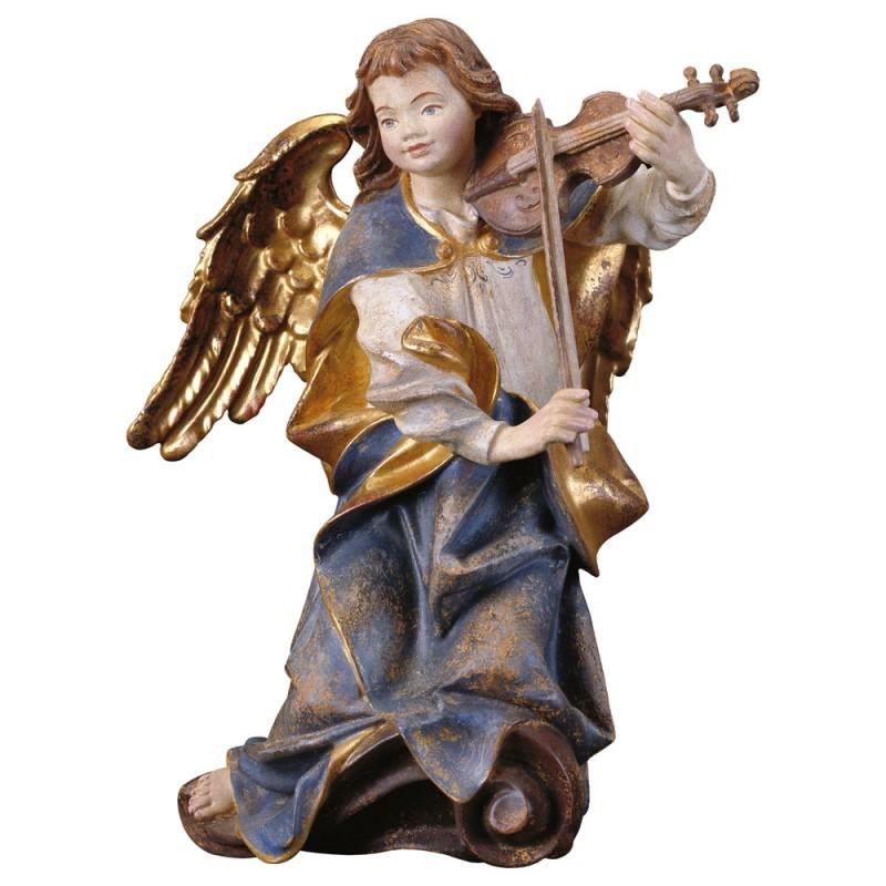 Aniołek ze skrzypcami - figurka polichromowana