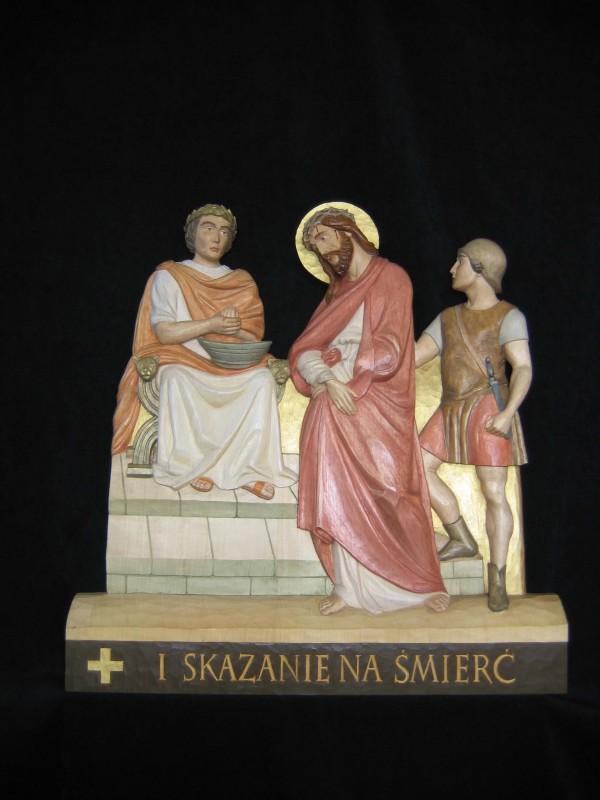 I stacja drogi krzyżowej - Jezus na śmierć skazany - płaskorzeźba, rzeźba, figura w drewnie