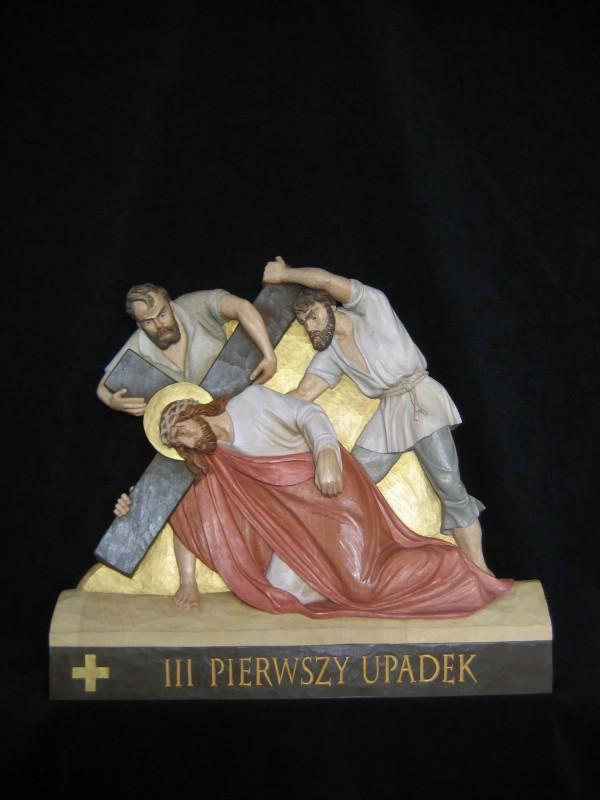 III stacja drogi krzyżowej  - Pierwszy upadek - płaskorzeźba, rzeźba, figura w drewnie