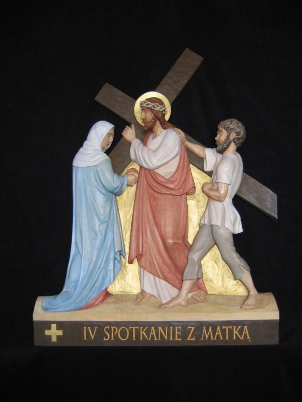 IV stacja drogi krzyżowej - Pan Jezus spotyka swoją Matkę - płaskorzeźba, figura, rzeźba w drewnie