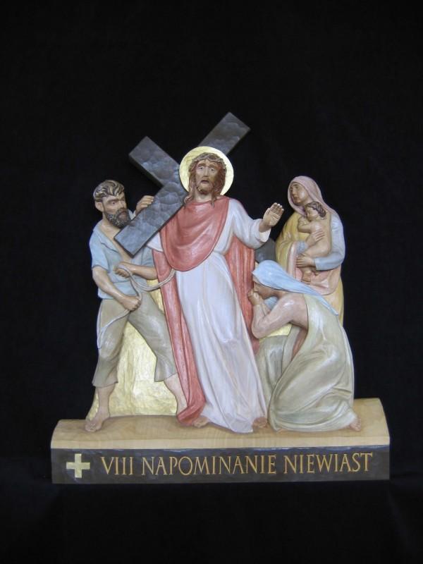 VIII stacja drogi krzyżowej - Jezus pociesza niewiasty - płaskorzeźba, figura, rzeźba w drewnie