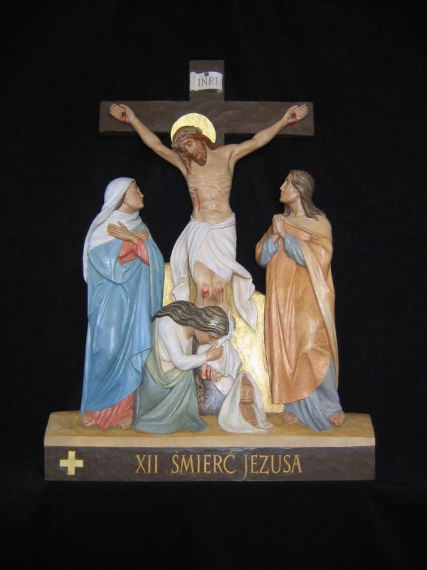 XII stacja drogi krzyżowej - Jezus umiera na krzyżu - płaskorzeźba, rzeźba, figura w drewnie