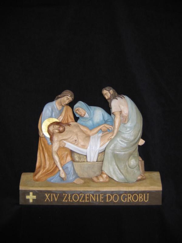 XIV stacja drogi krzyżowej - Jezus złożony do grobu - płaskorzeźba, figura, rzeźba w drewnie