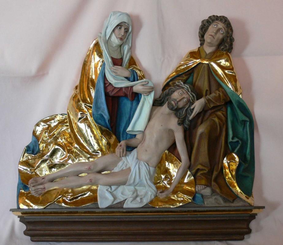 Pieta gotycka, płaskorzeźba, rzeźba, figura w drewnie