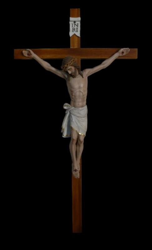 Krucyfiks drewniany rzeźbiony 70 cm