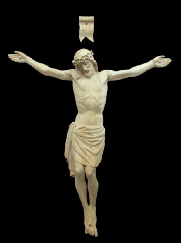 Krucyfiks drewniany rzeźbiony 130 cm