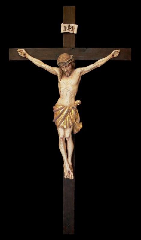 Krucyfiks stylizowany na antyk z autentycznego starego i zniszczonego przez insekty drewna - Andrzej Burkot