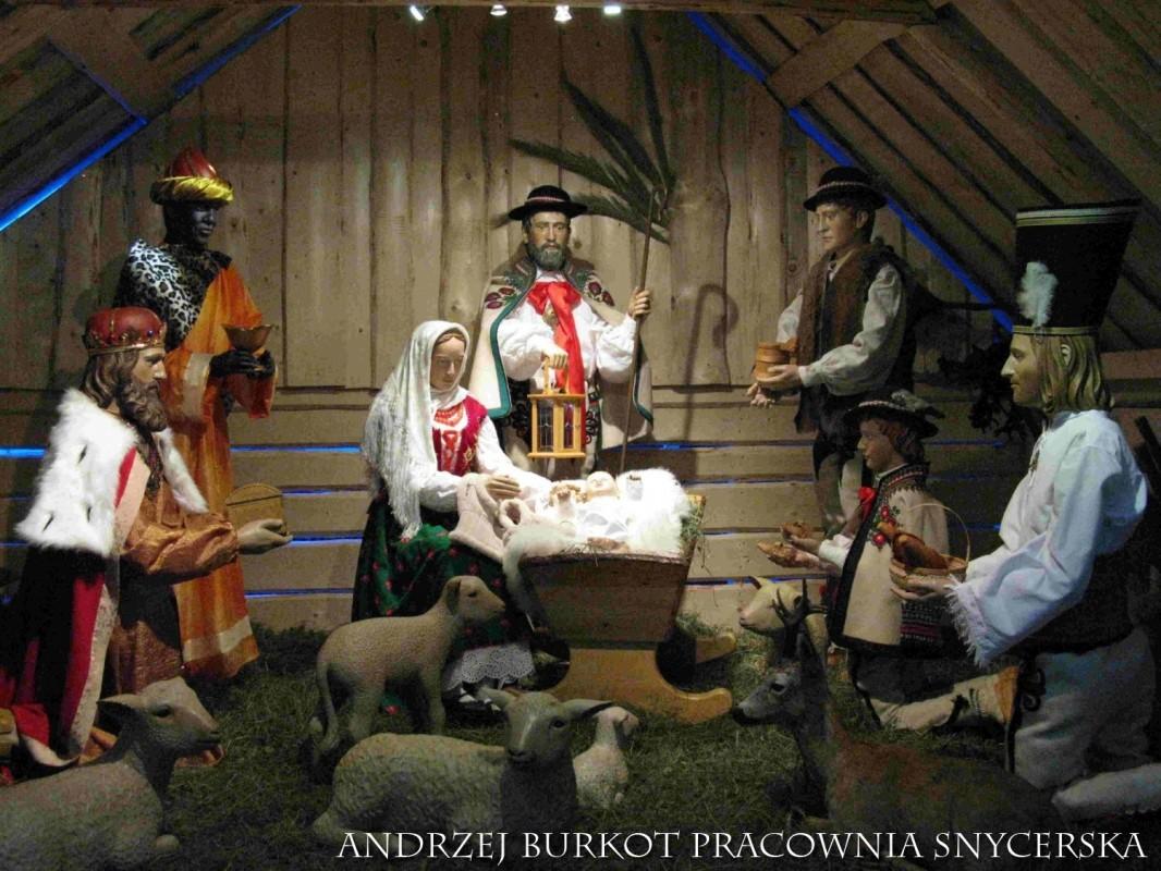 Szopka bożonarodzeniowa w Olczy - aranżacja