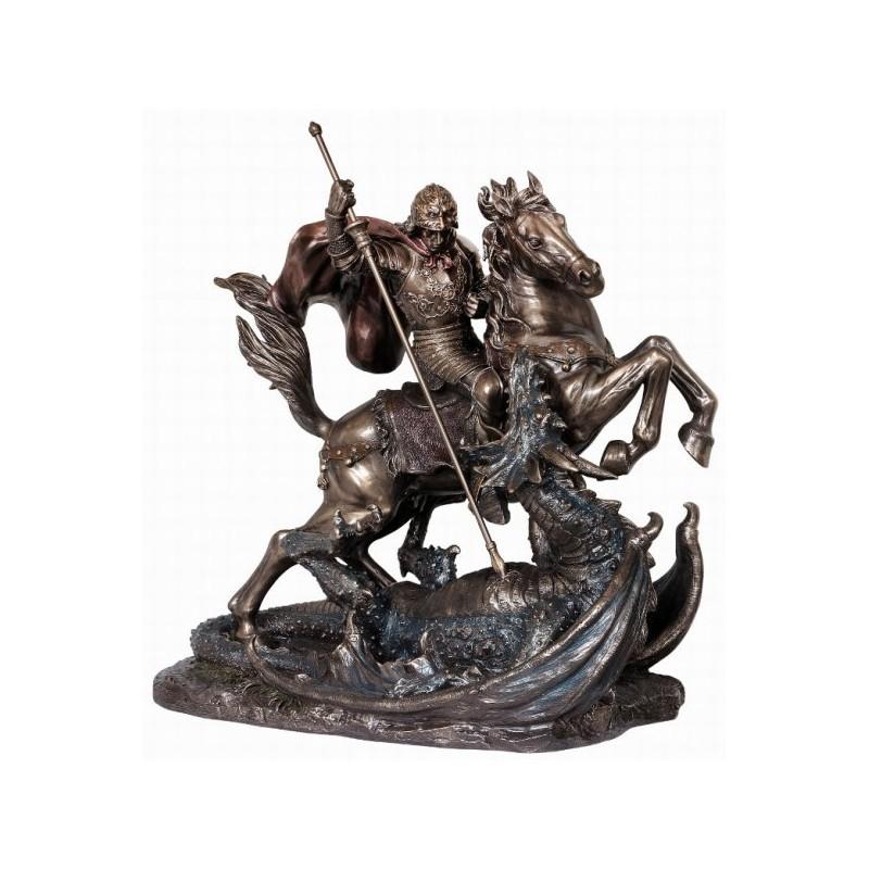 Figura postaci świętego Jerzego walczącego ze smokiem