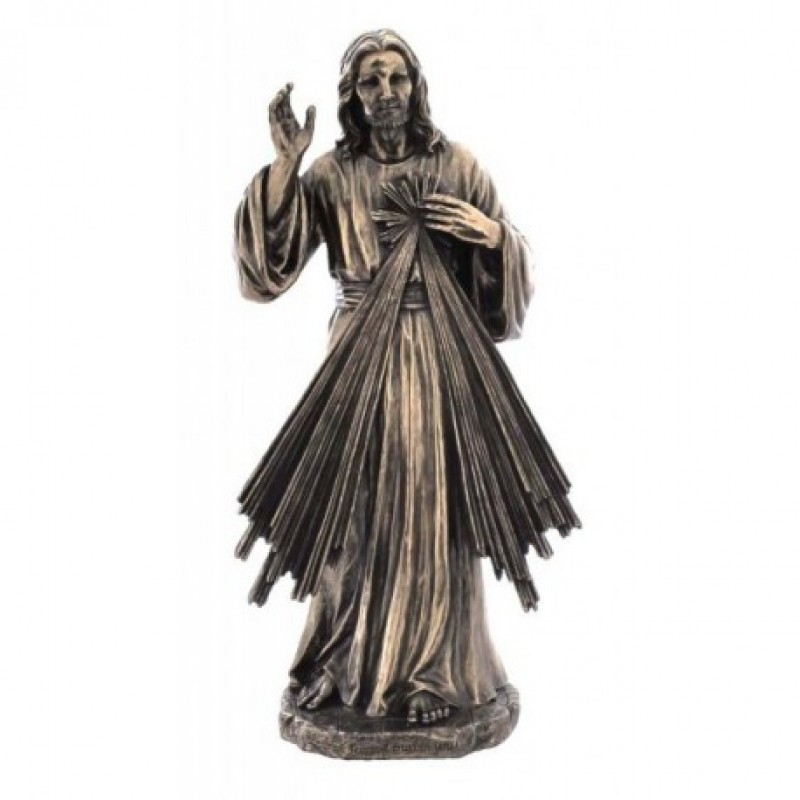 Jezus Miłosierny, rzeźba z brązu, figura z brązu