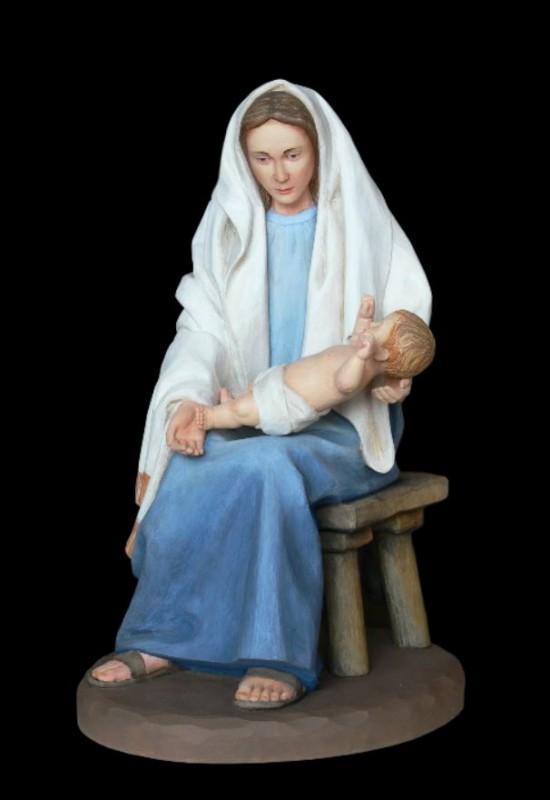 Maria z dzieciątkiem, figura do szopki drewniana