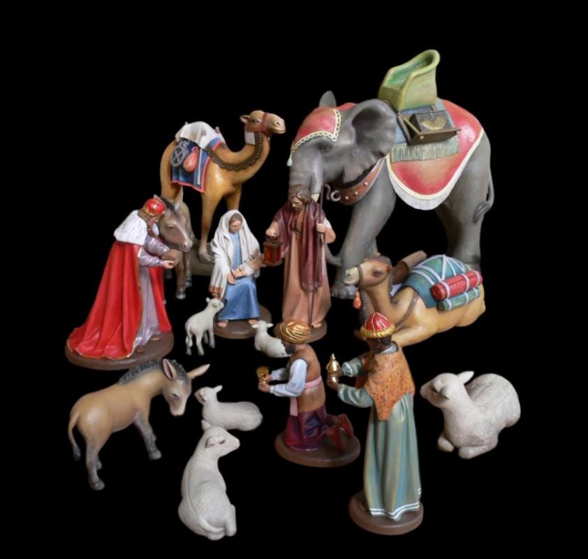 Zestaw drewnianych figur do szopki Bożonarodzeniowej