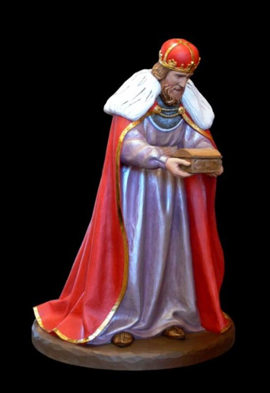 Król Melchior - drewniana rzeźba do szopki