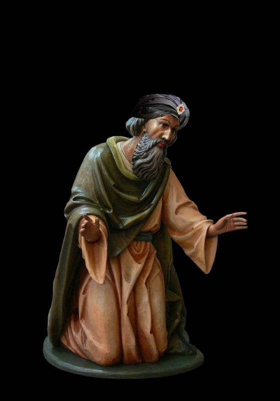Król Arab do szopki bożonarodzeniowej - Figurka do szopki bożonarodzeniowej, drewniana, polichromowana