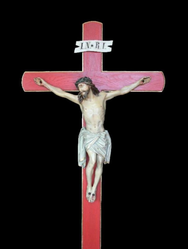 Krucyfiks drewniany wykonany w drewnie lipowym