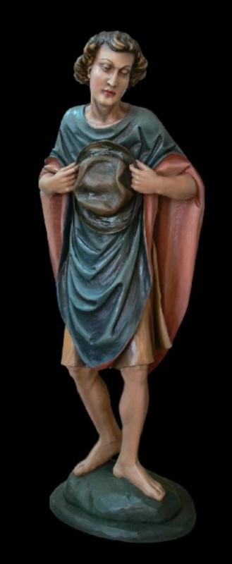 Pasterz z kapeluszem do szopki, rzeźba drewniana, figura z drewna