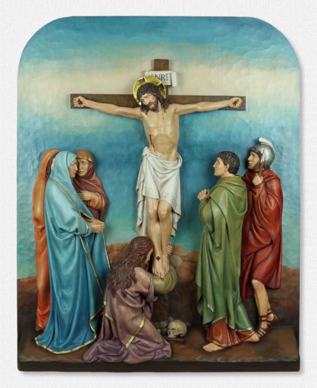 Stacje Drogi Krzyżowej - Stacja 12 - Jezus umiera na krzyżu - rzeźby drewniane do kościoła