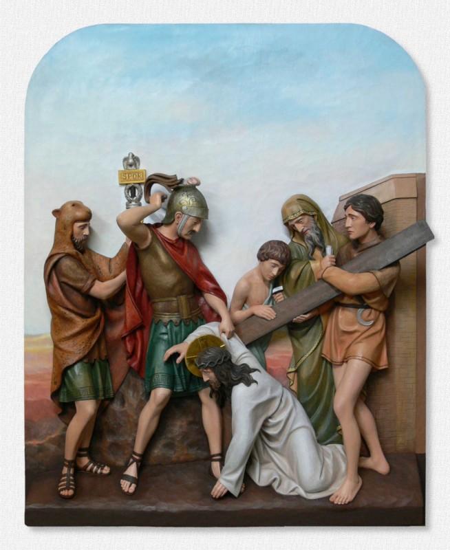 Stacje Drogi Krzyżowej - Stacja 7 - Jezus upada po raz drugi - Sklep z figurami drewnianymi
