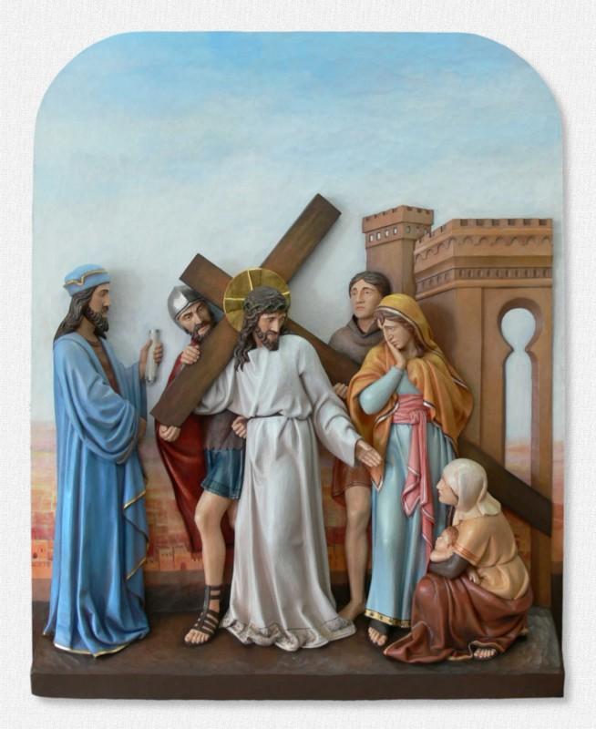Stacje Drogi Krzyżowej - Stacja 8 - Jezus pociesza płaczące niewiasty - producent rzeźb w drewnie