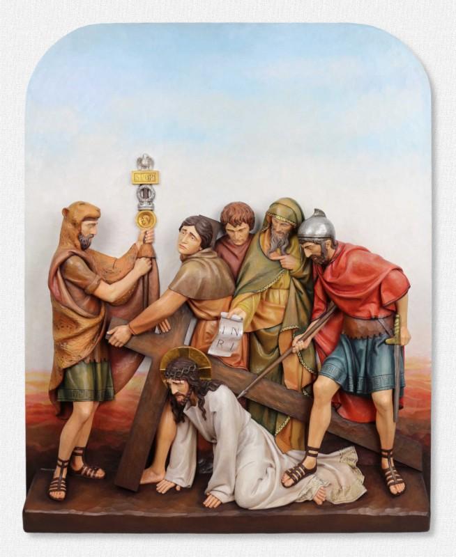 Stacje Drogi Krzyżowej - Stacja 9 - Jezus upada po raz trzeci - scena, sceny Drogi Krzyżowej