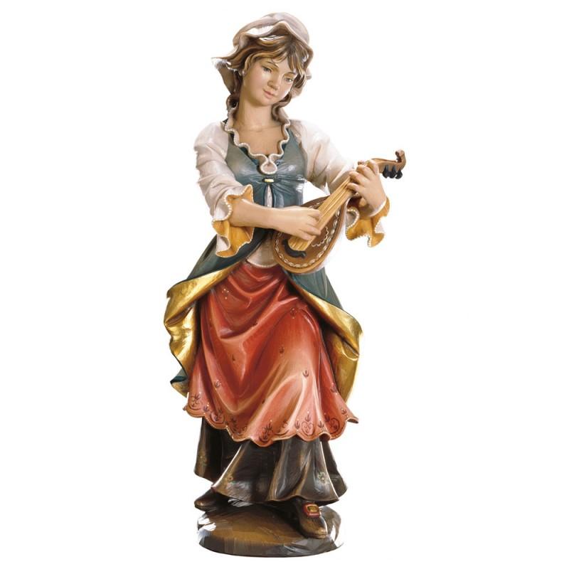 Lutnista - figurka w drewnie