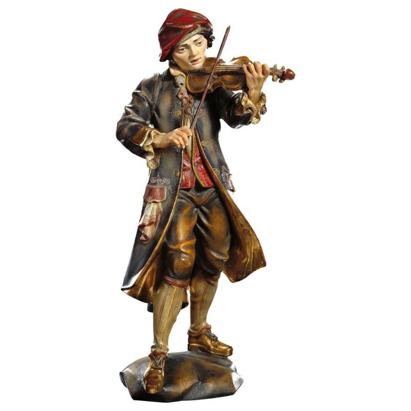 Chłopiec grający na skrzypach - figura dewniana