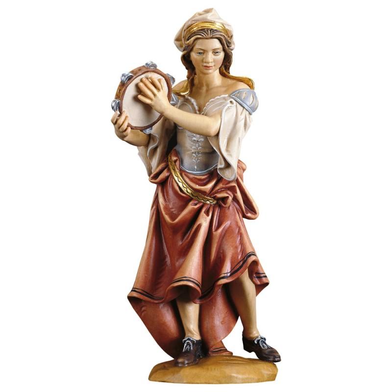 Dziewczyna grająca na tamburynie - figurka w drewnie