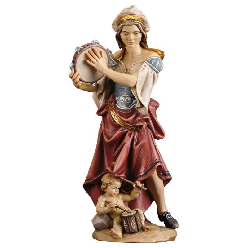 Dziewczyna z dzieckiem grająca na tamburynie - figurka