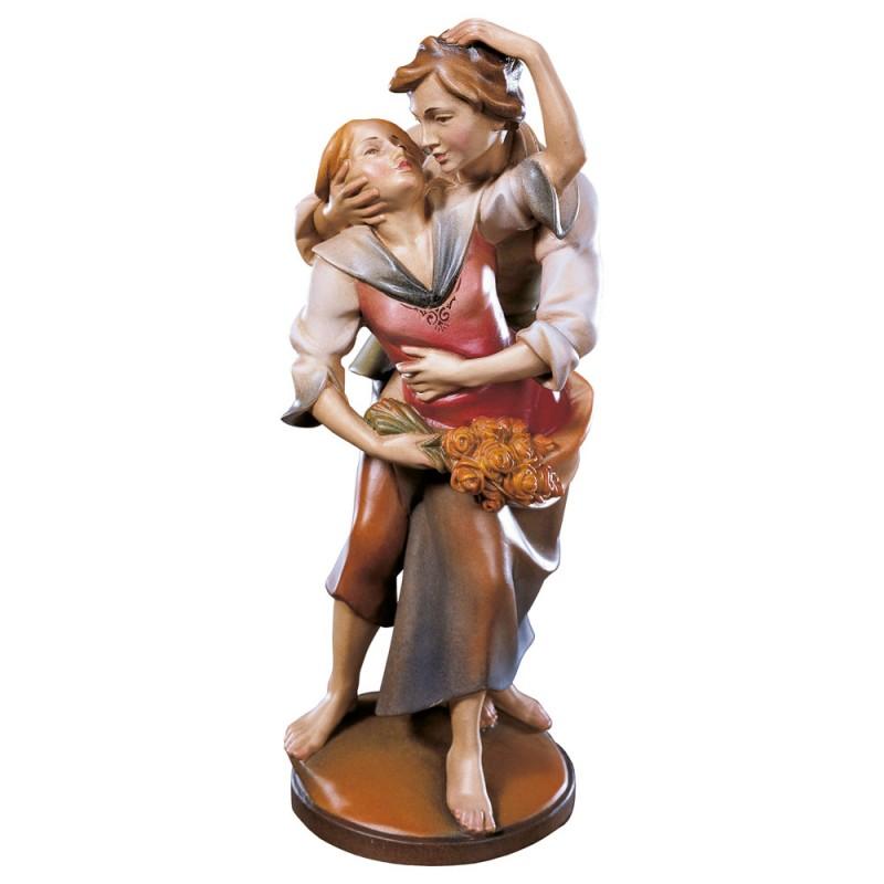 Kochankowie - rzeźba, figurka w drewnie